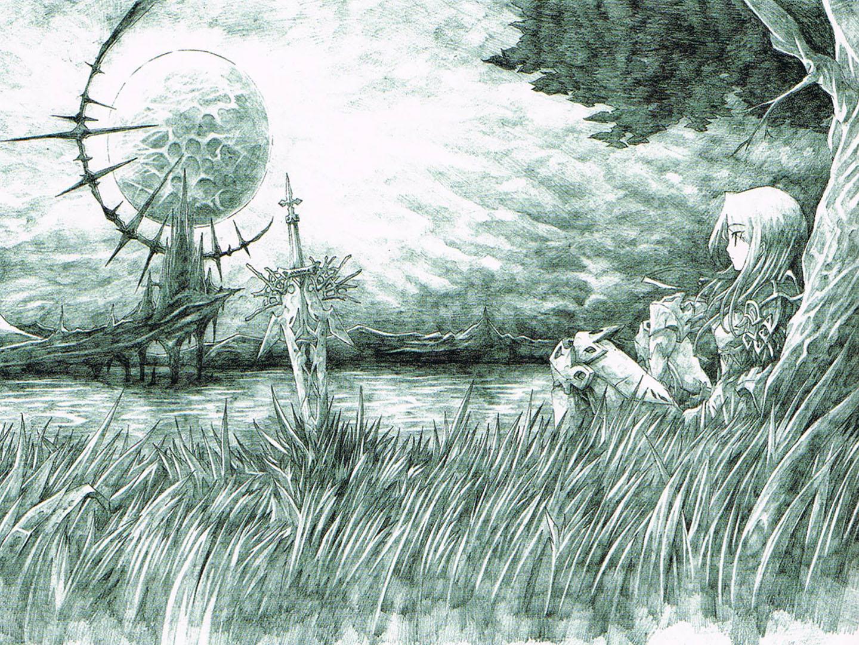 Monochrome Sword And Boy Next To Tree