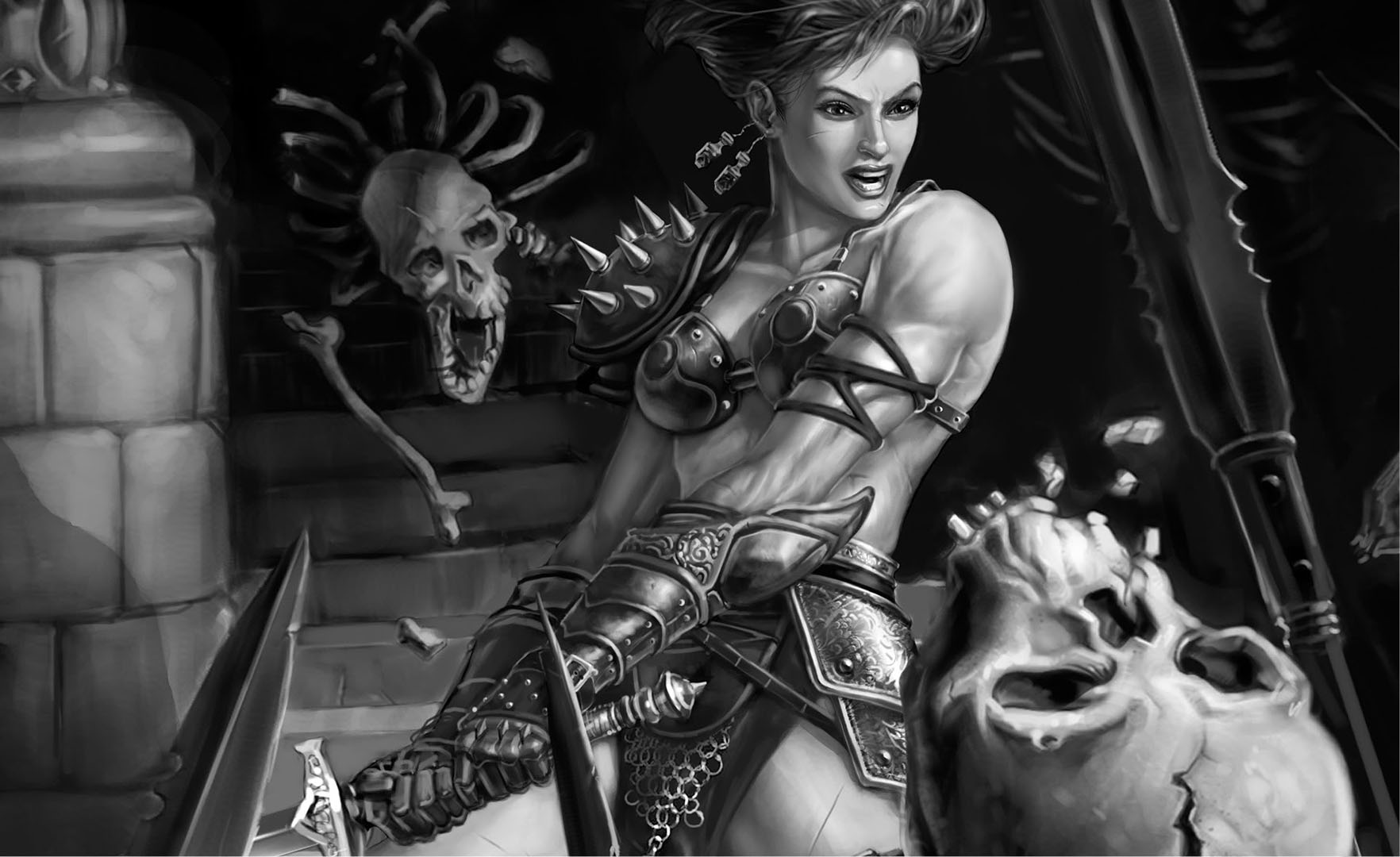 Amazonian Warrior Destroying A Skeleton