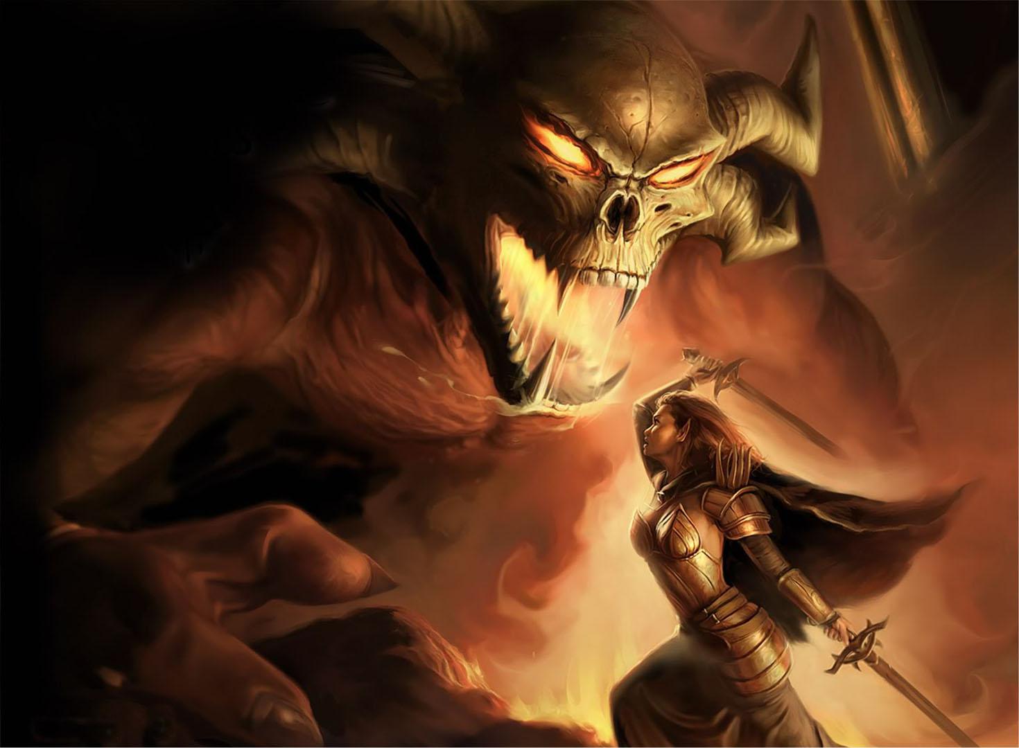 Elven Female Fighter Battling Balrog Demon