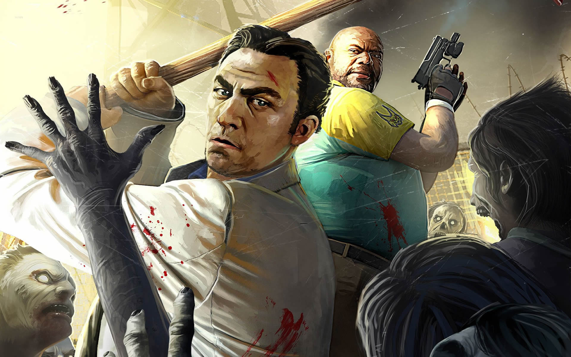 Left 4 Dead 2 Nick And Coach Scything Through The Undead Horde