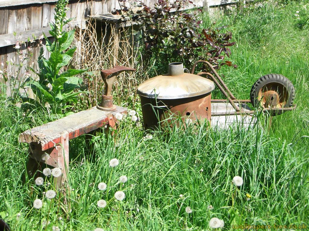 Cobblers Stool Wheelbarrow And Burning Bin