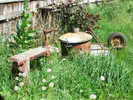 cobblers stool wheelbarrow and burning bin