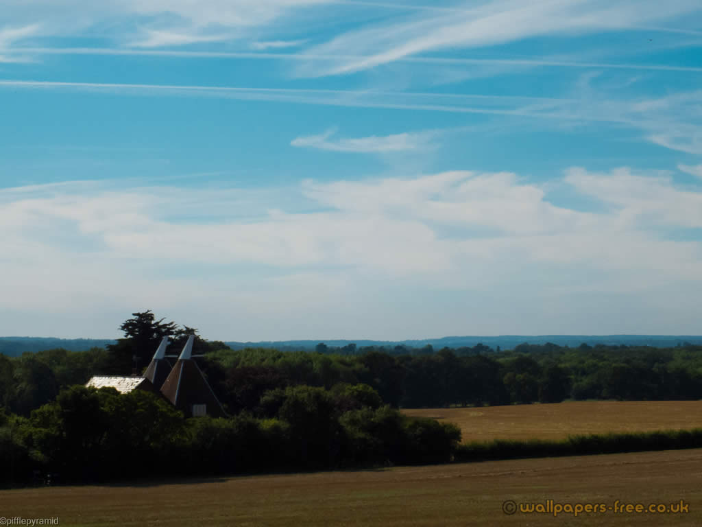 Oast House And View Near Hollingbourne Pilgrims Way