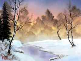 bob ross winter stillness