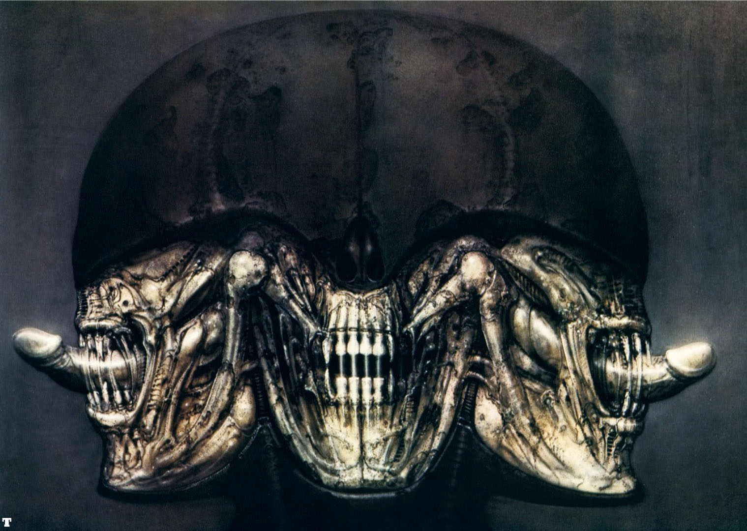 portrait of hr giger with motifs from his work ds blake