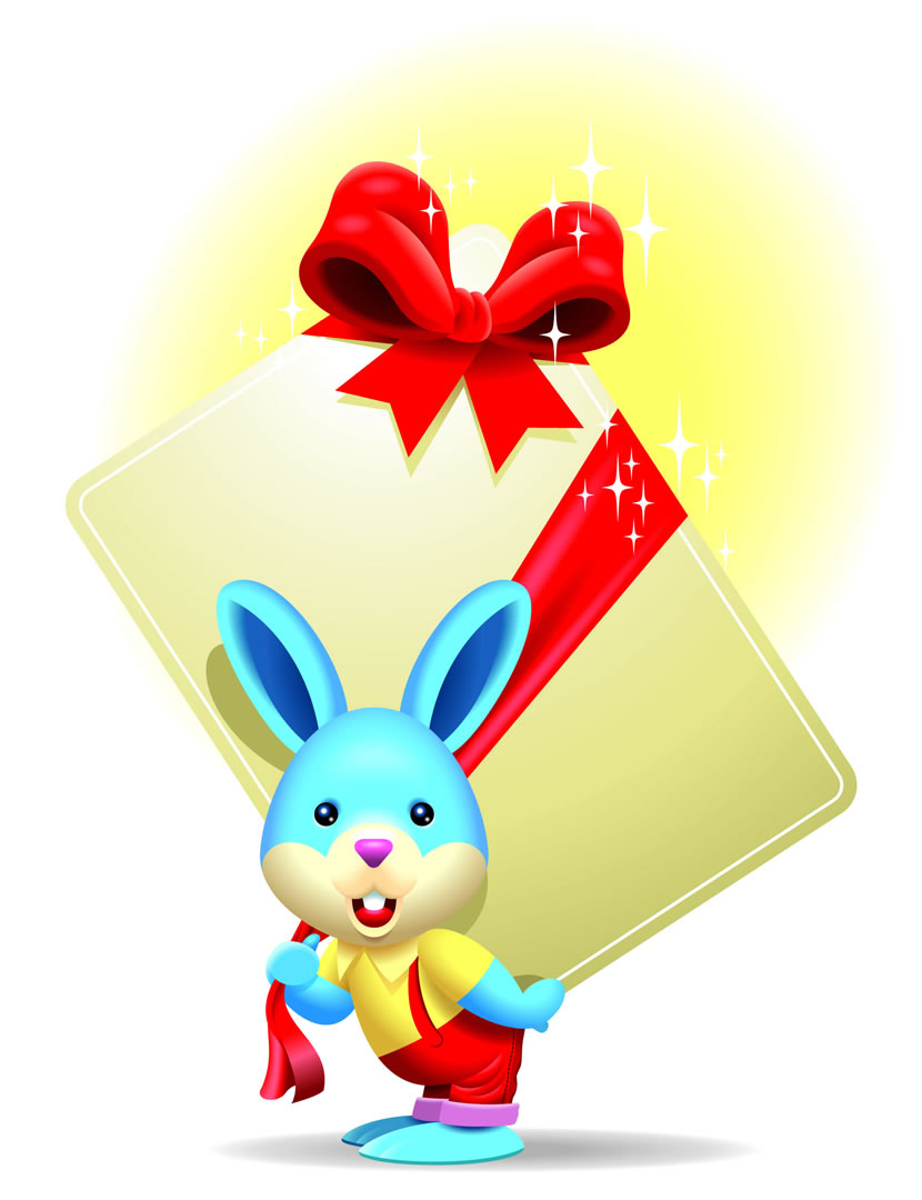 Easter Bunny Carrying A Big Present
