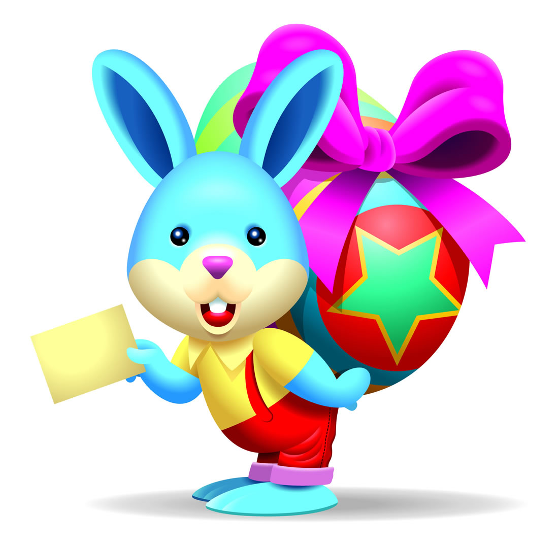 Easter Bunny With A Letter Carrying A Big Egg