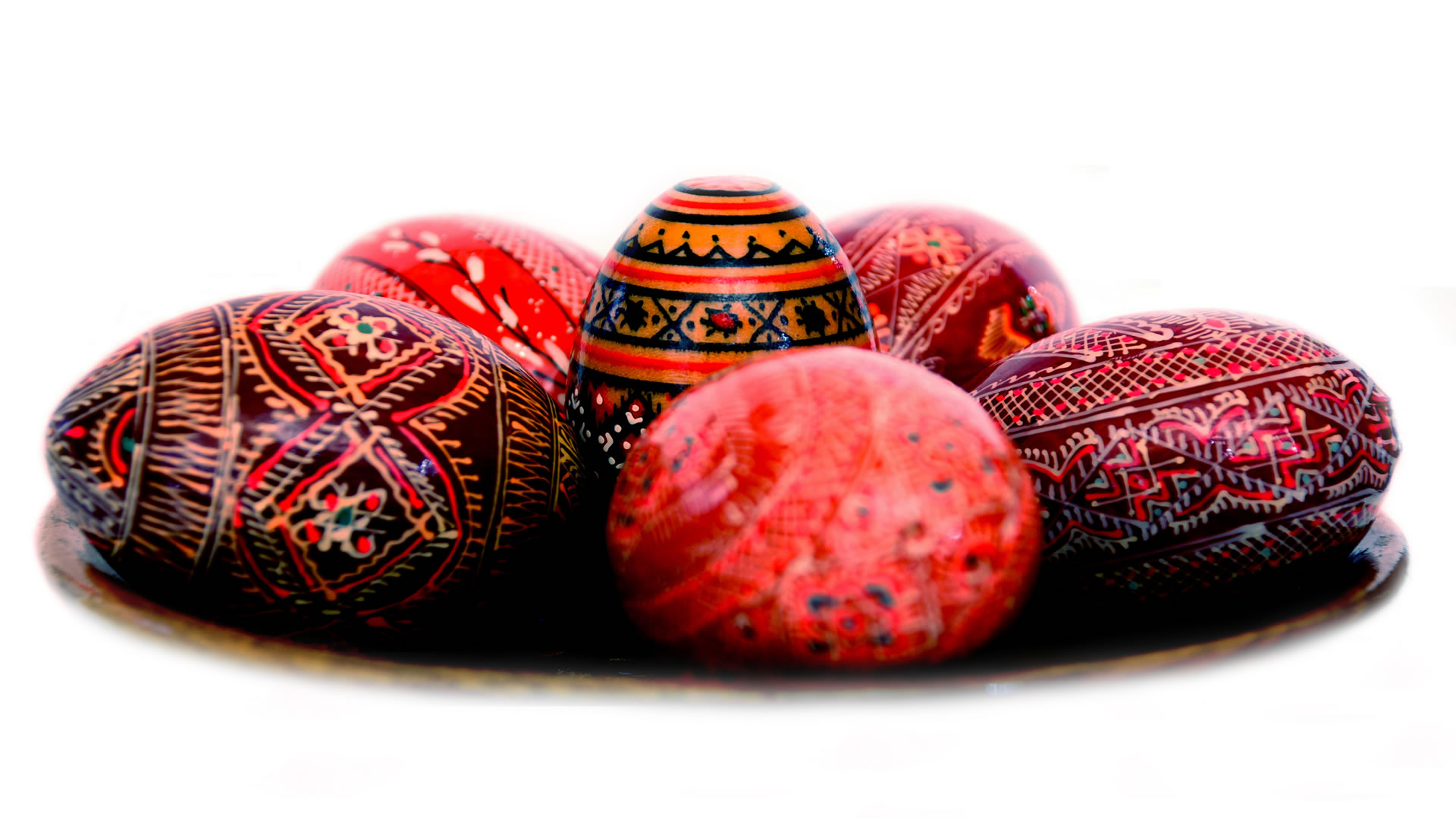 Selection Of Patterned Red Easter Eggs
