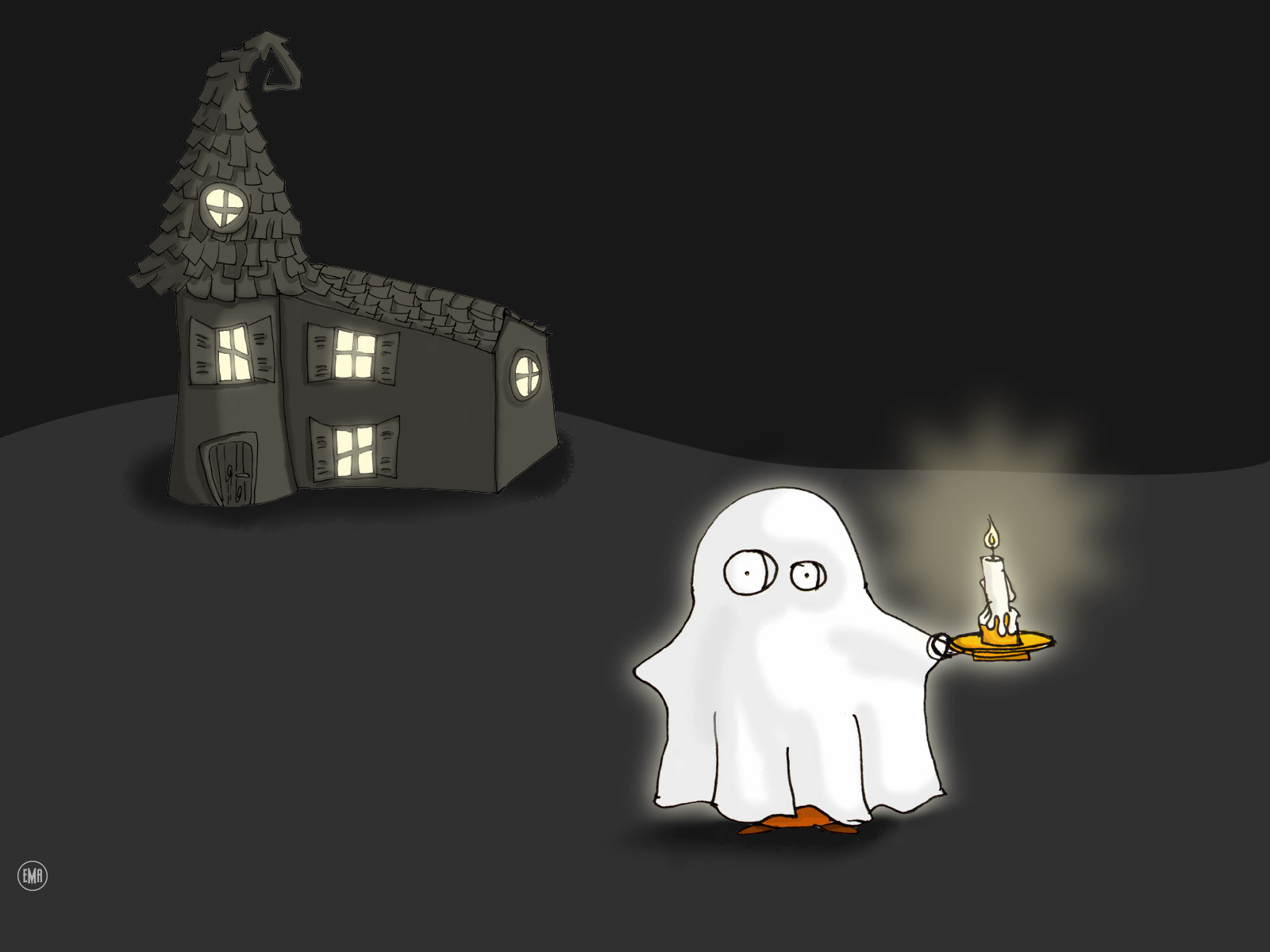 Cartoon Fred Ghost With Candle
