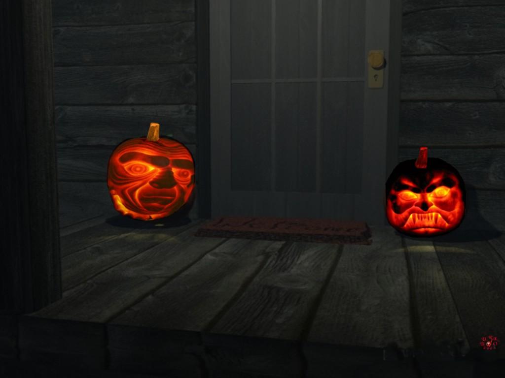Glowing Pumpkins By Door