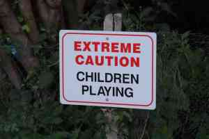 extreme caution children playing