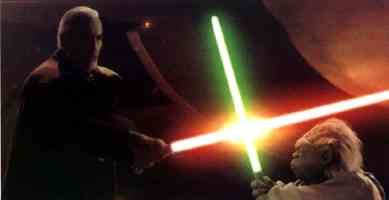 dooku and yoda in lightsaber duel