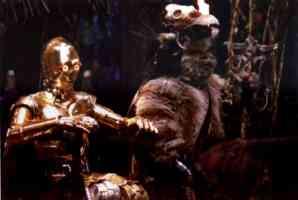 ewoks worshipping the golden droid