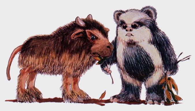 An ewok feeds a bordok star wars rebel alliance characters - Ewok wallpaper ...