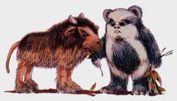 an ewok feeds a bordok