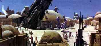 the dowager queen crashed in the center of mos eisley