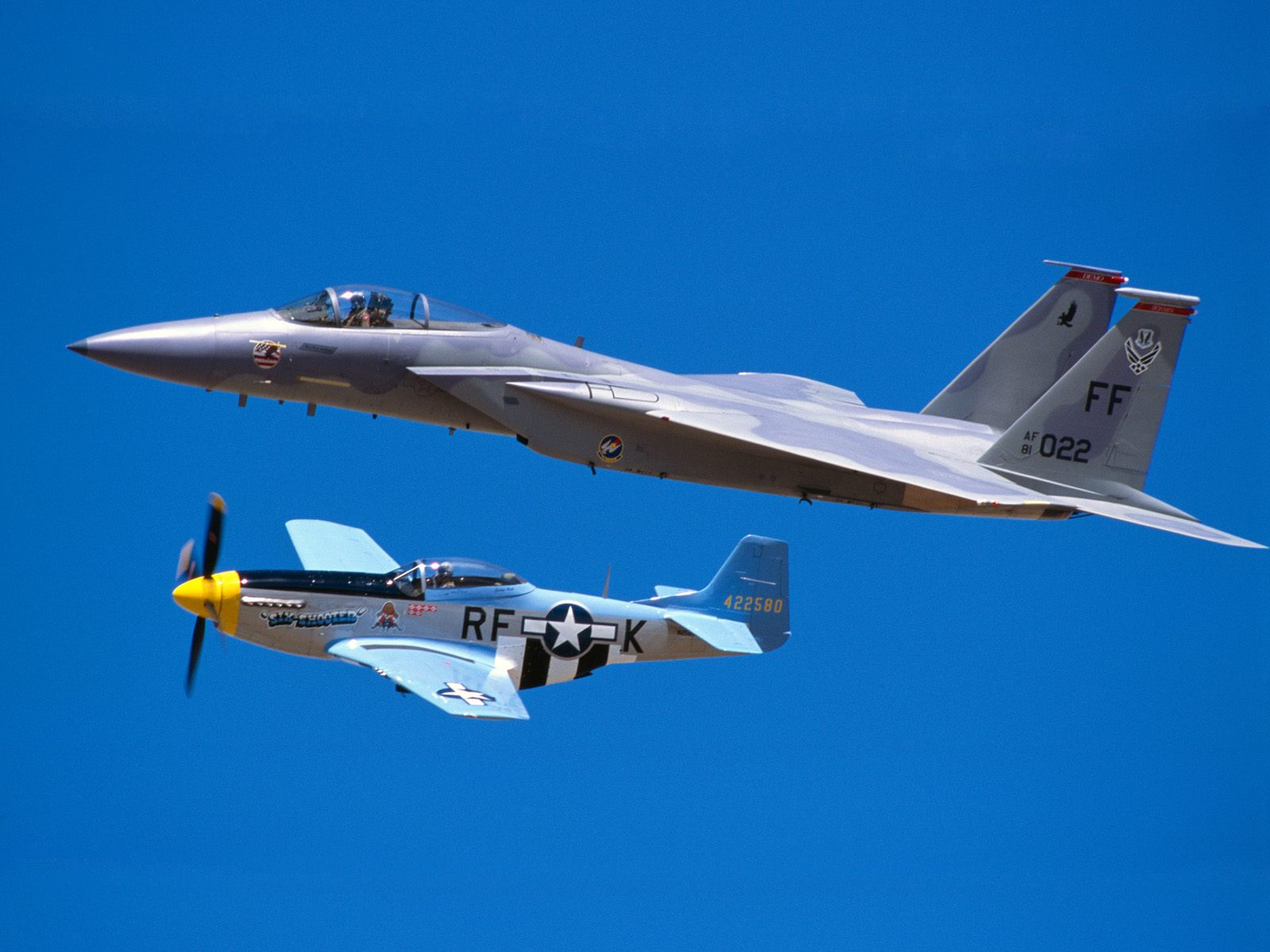 F 15 Eagle And P 51 Mustang
