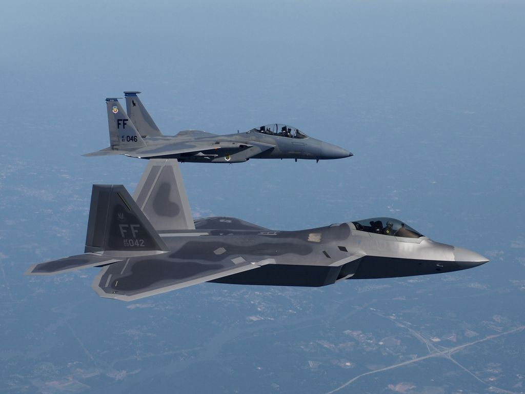 FA22 And F15 Flying Together