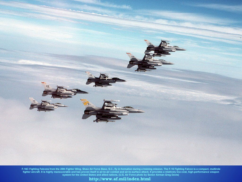 F16c Fighting Falcons In Formation