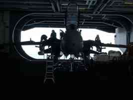 inside the aicraft carrier hangar