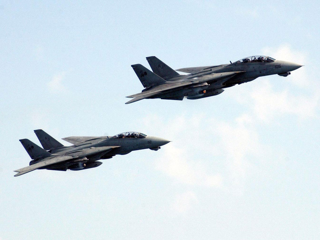 Two F14D In Flight