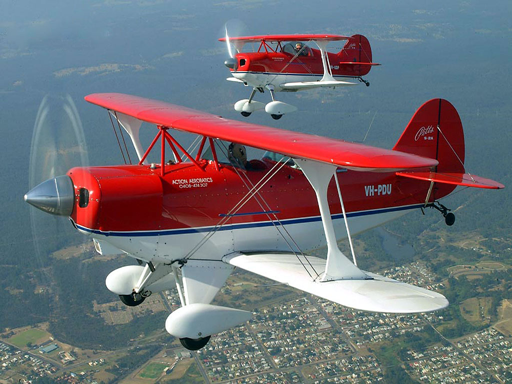 Two Red Biplanes