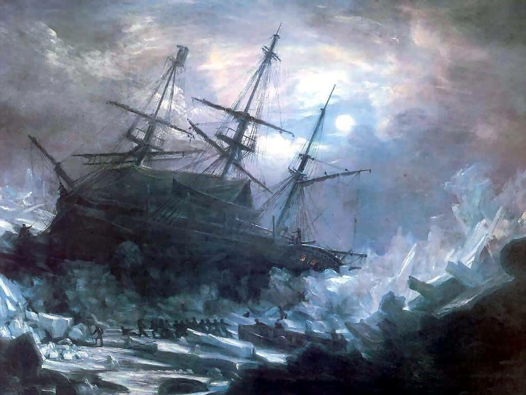 Shipwreck On Glacier Boats Wallpaper