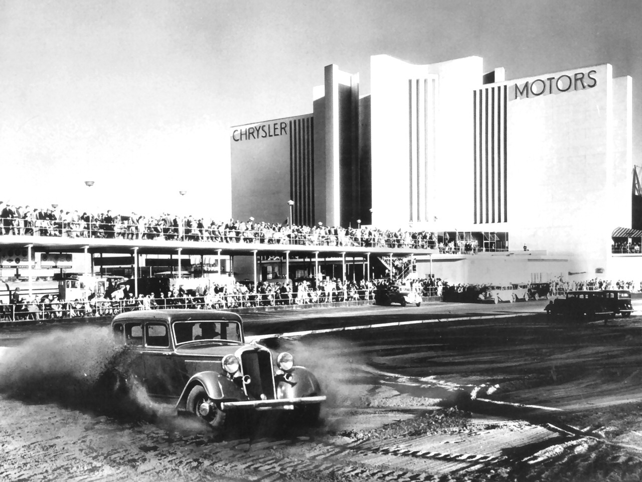 1933 Dodge Sedan On The Race Track At The 1933 Chicago World S Fare BW