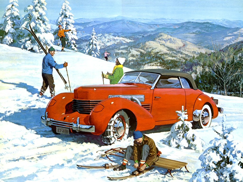 Cars 1937 Cord 812 Convertible Advertising Art Work Winter Scene