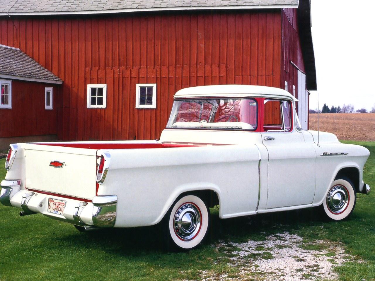 1956 Chevrolet Cameo Pickup White Rvr