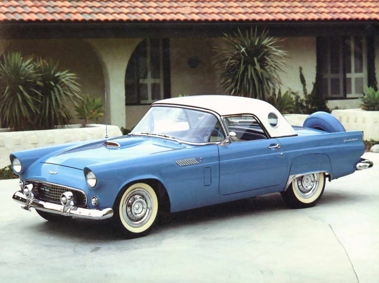 1956 Ford Thunderbird Roadster With Port Hole Hardtop Blue Fvl Next Cars Wallpaper