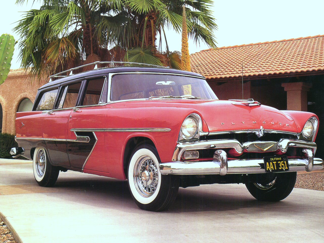 1956 Plymouth Sport Suburban Station Wagon Coral Black Fvr