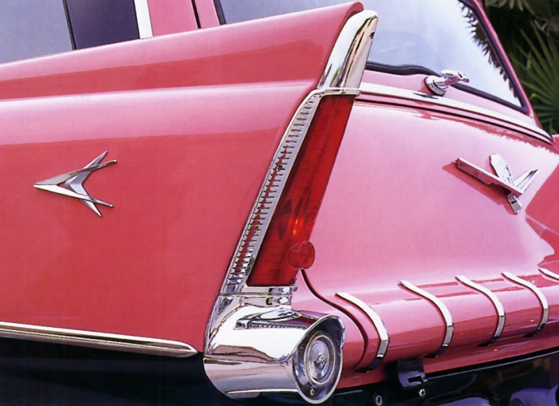 1956 Plymouth Station Wagon Tail Fin Detail With Forward Look Badge