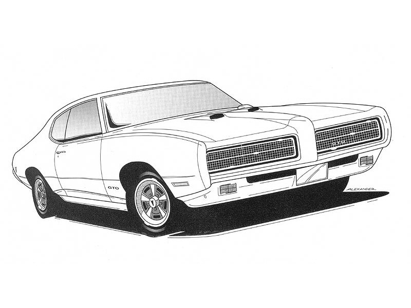 1969 pontiac gto coupe art work bw cars wallpaper1969 pontiac gto coupe art work bw