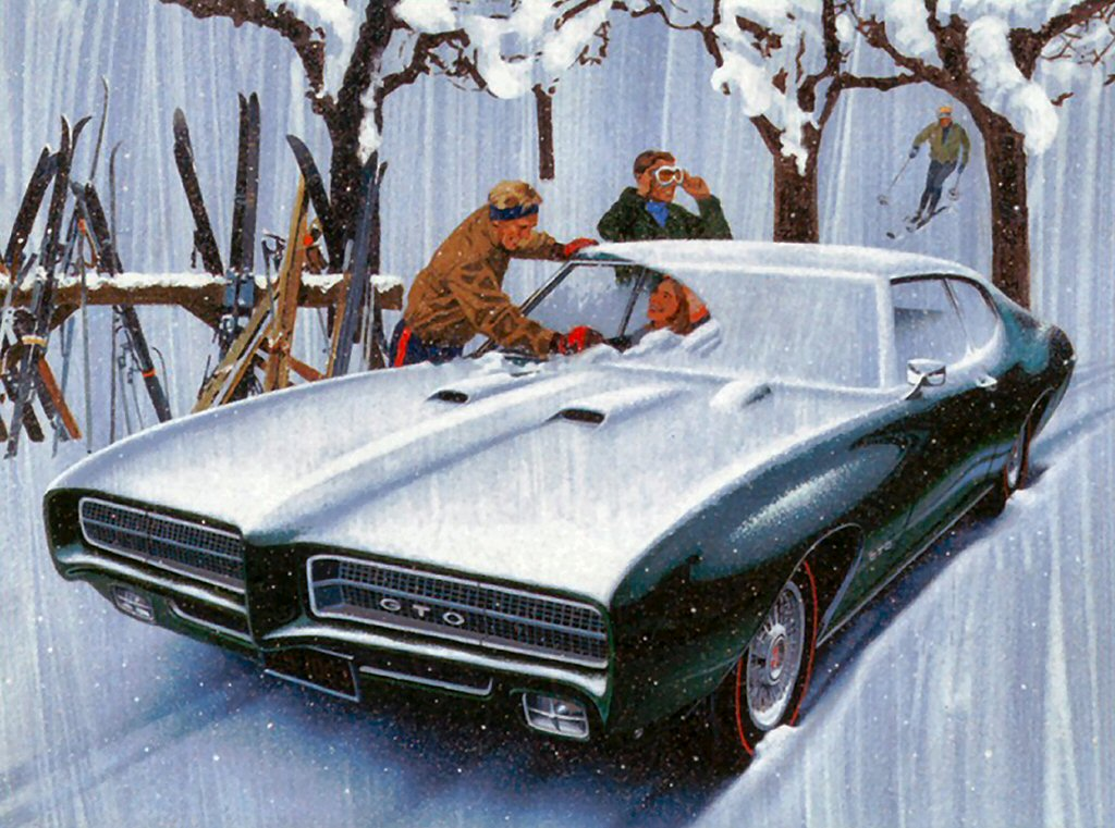 1969 Pontiac GTO Sport Coupe Winter Scene Art Work