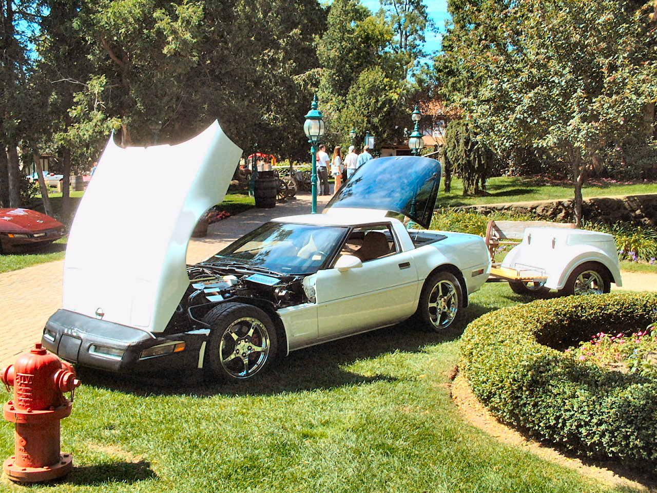 1990 Chevrolet Corvette ZR1 Coupe With Trailer White Fvl Canterbury Village Car Show F