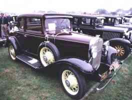 1931 Chevrolet 5 Window Coupe Burgandy fvr 35mm Hershey PA 1970