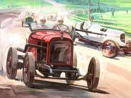 1932 Dodge Plymouth Dirt Track Race Cars Artist Rendition Red White fvr