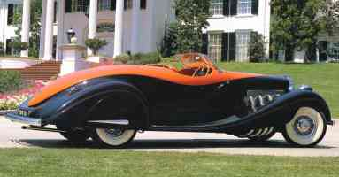 1932 Duesenberg Model J Speedster Orange Black Rt Rr sv