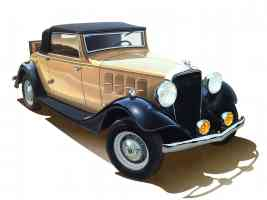 1933 Essex Hudson Terraplane Cabriolet with fv Fog Lamps Art Work Tan Black fvr