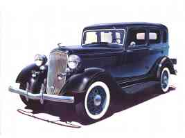 1933 Plymouth PD 4 Door Sedan with Dual Horns Art Work Midnight Blue Black fvl