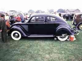 1934 DeSoto Airflow 2 Door Sedan Hood Up Black sv 35mm Hershey PA 1970