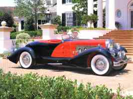 1934 Duenberg Model J Boattail Speedster Red Black fsv