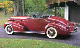 1934 LaSalle Convertible Coupe Red Rr sv