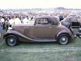 1934 Pontiac 3 Window Coupe Tan Brown sv 35mm Hershey PA 1970