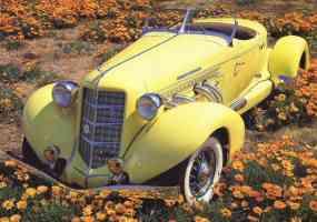 1935 Auburn 851 Boattail Speedster stitched Yellow High fvl