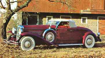 1935 Duesenberg Convertible Coupe by Rollston Maroon fvl