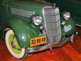 1935 Ford V 8 Touring Sedan Grille Head Lights Wheel Tire Detail Green H Ford Museum CL