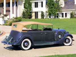 1935 Lincoln V 12 Phaeton Blue Rt Rr sv