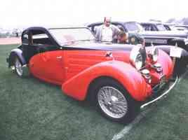 1936 Bugatti Fixed Head 5 Window Coupe Red Black fvr 35mm Hershey PA 1970